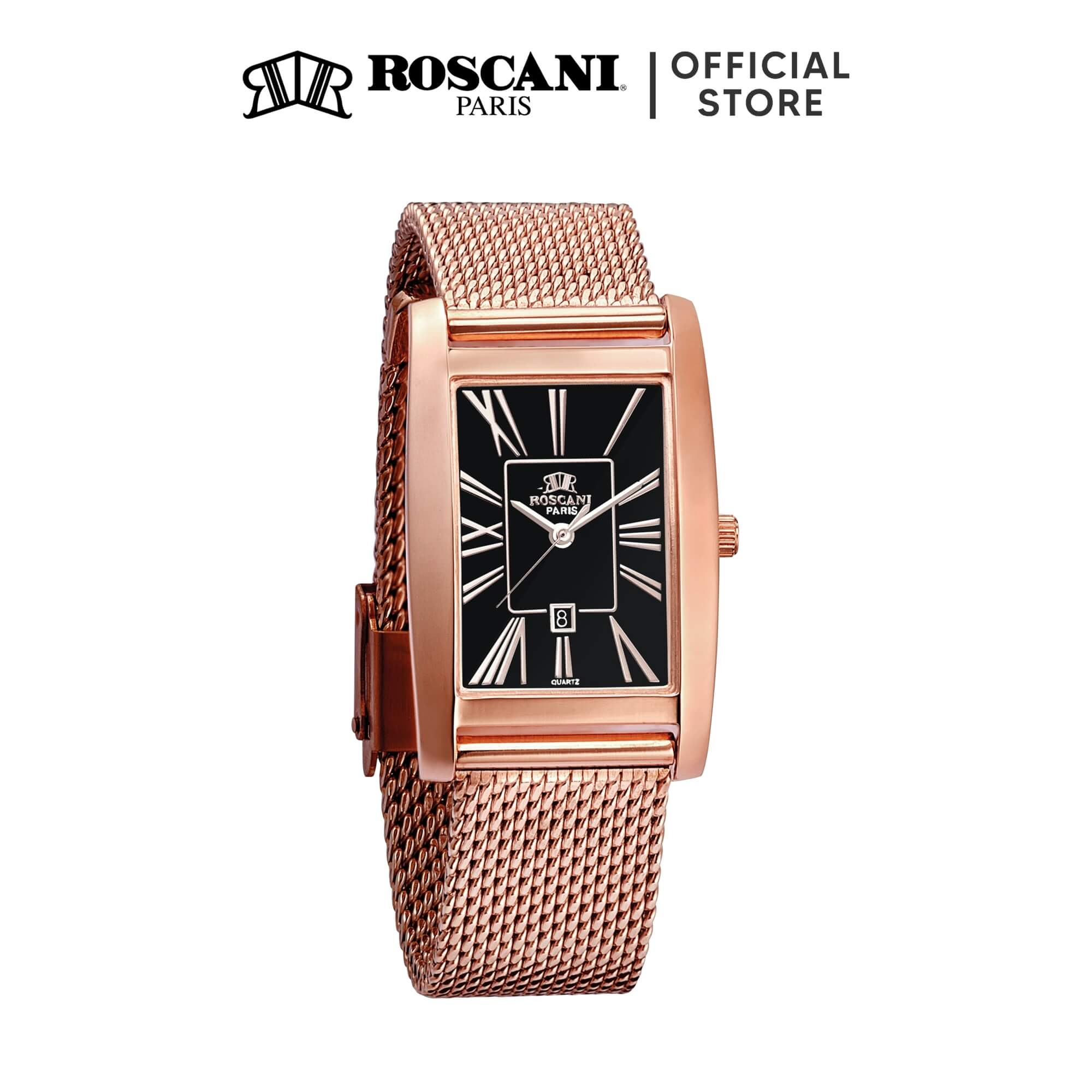 Roscani Riana 406 (Curved Crystal) Mesh Women Watch