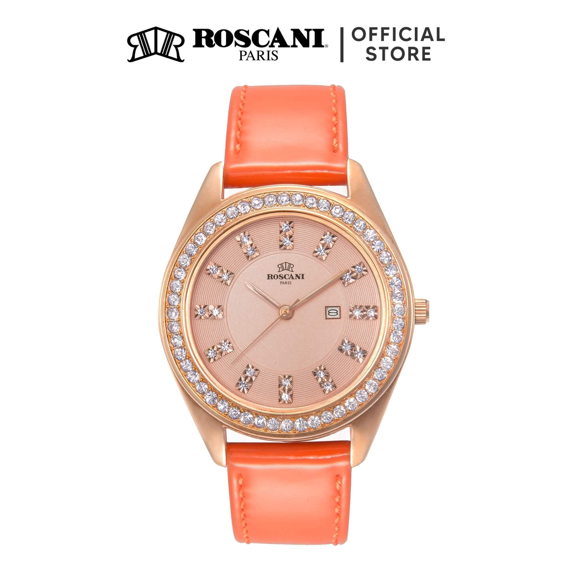 Roscani Mei Ling 841 (Gemstone Bezel) Leather Women Watch