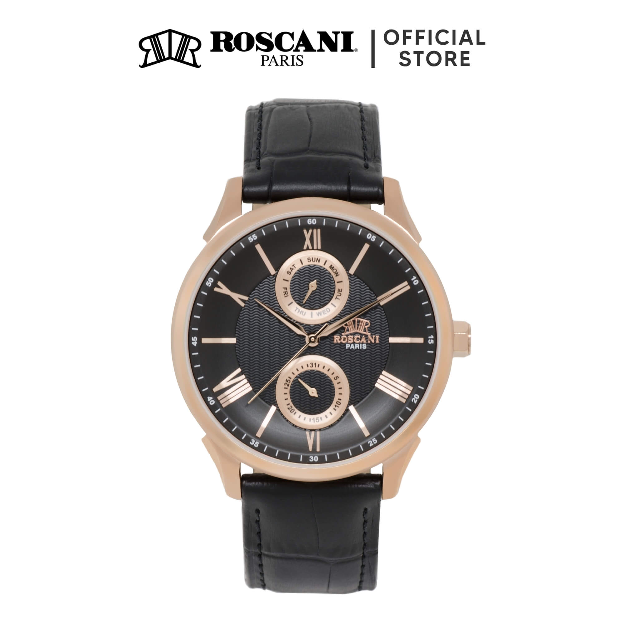 Roscani Ryes 911 (Wave Patterned Dial + Raised Curve Crystal) Leather Men Watch
