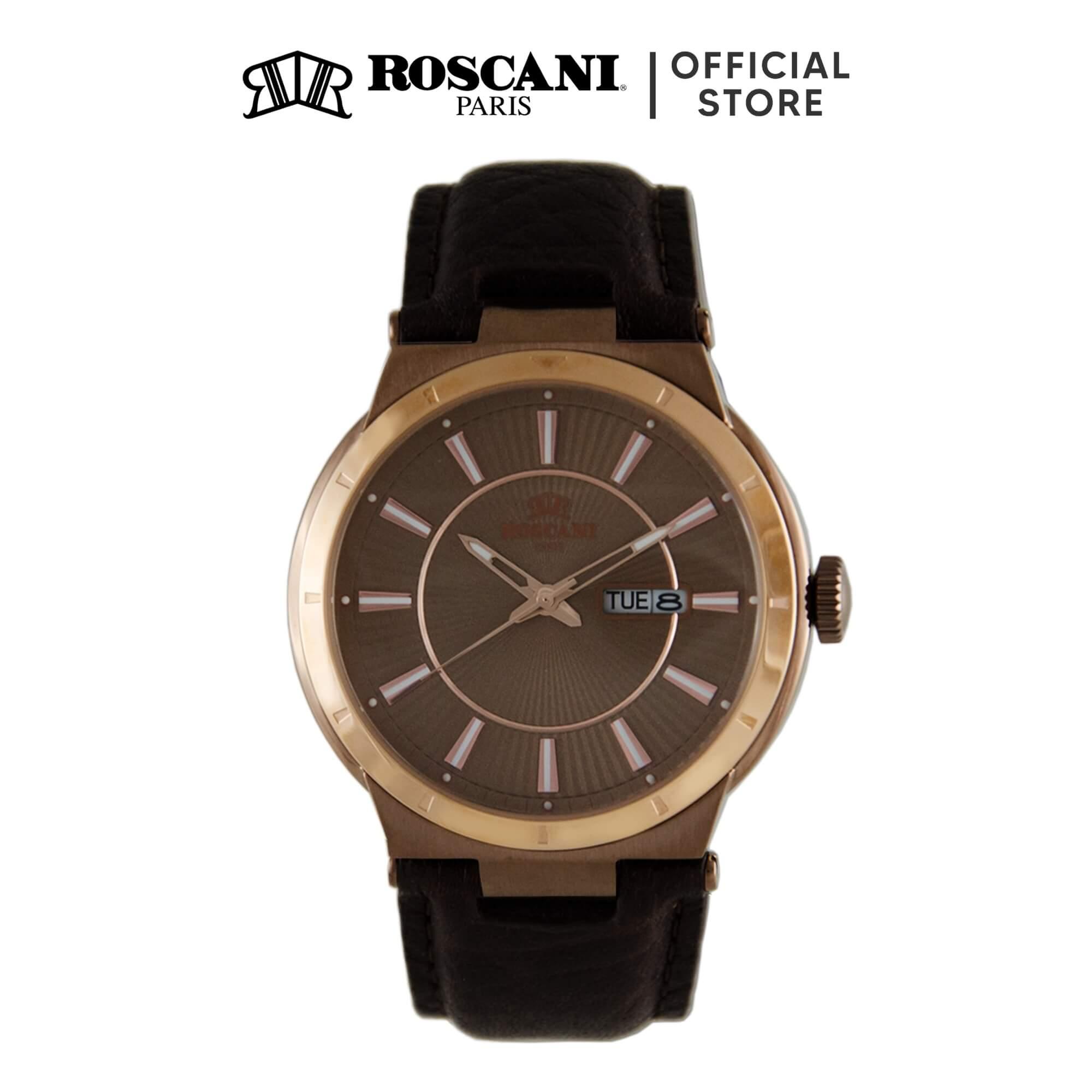 Roscani Mark 912 (Curve Crystal + WR 5ATM) Leather Men Watch