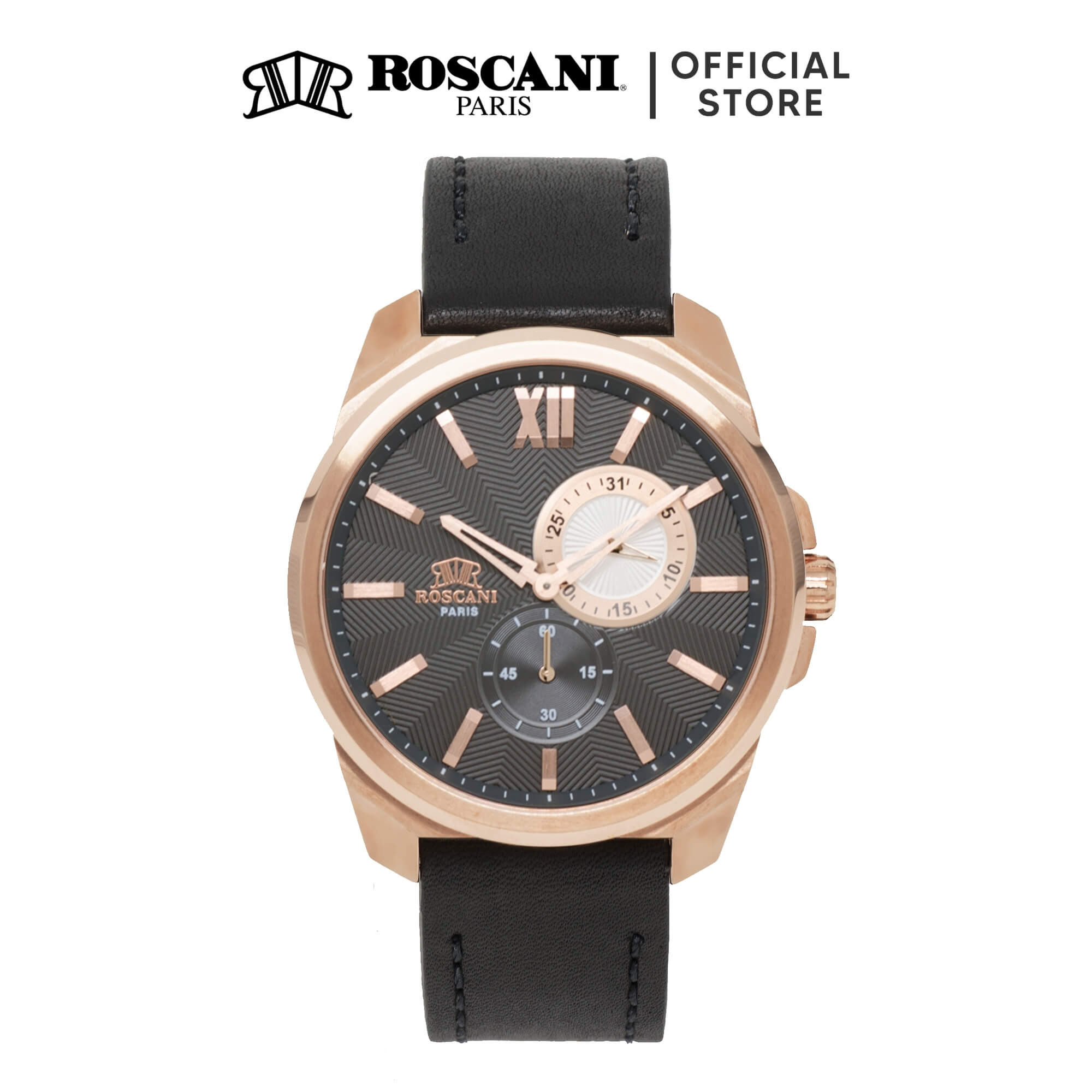 Roscani Charlie 922 (Curved Crystal + WR 5ATM) Leather Men Watch