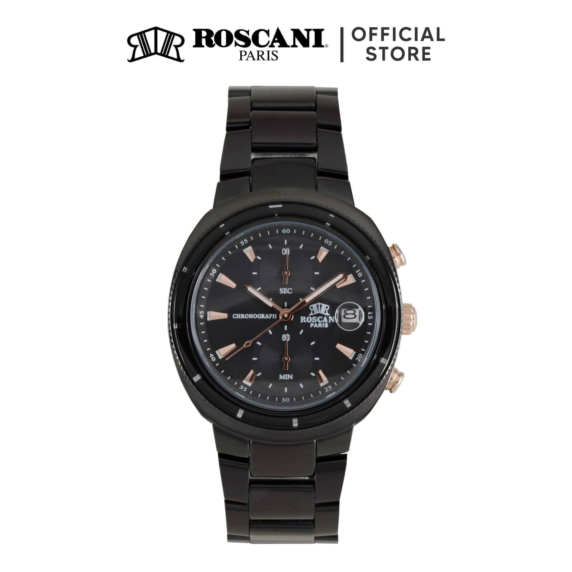 Roscani Oscar 971 (Ceramic Bezel + WR 5ATM) Bracelet Men Watch