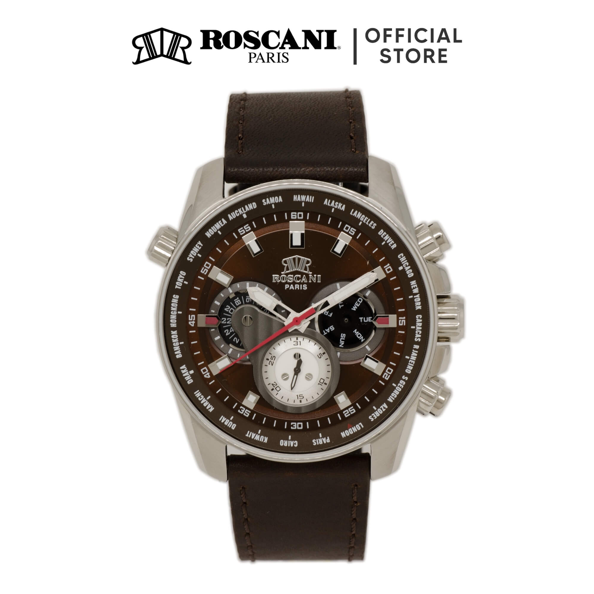 Roscani Chase 986 (Multifunction + WR 5ATM) Leather Men Watch