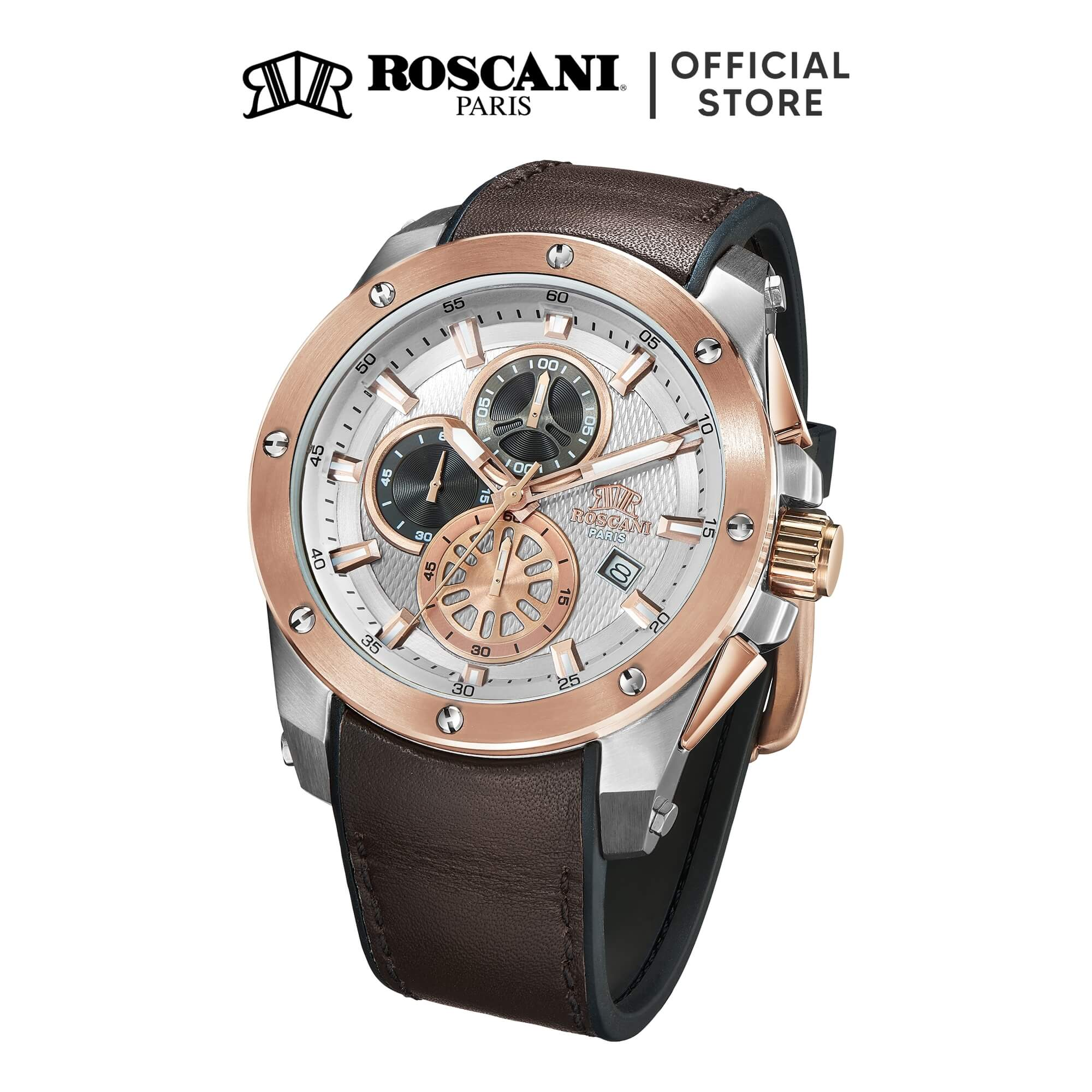 Roscani Paul 988 (Chronograph + WR10ATM) Leather Men Watch