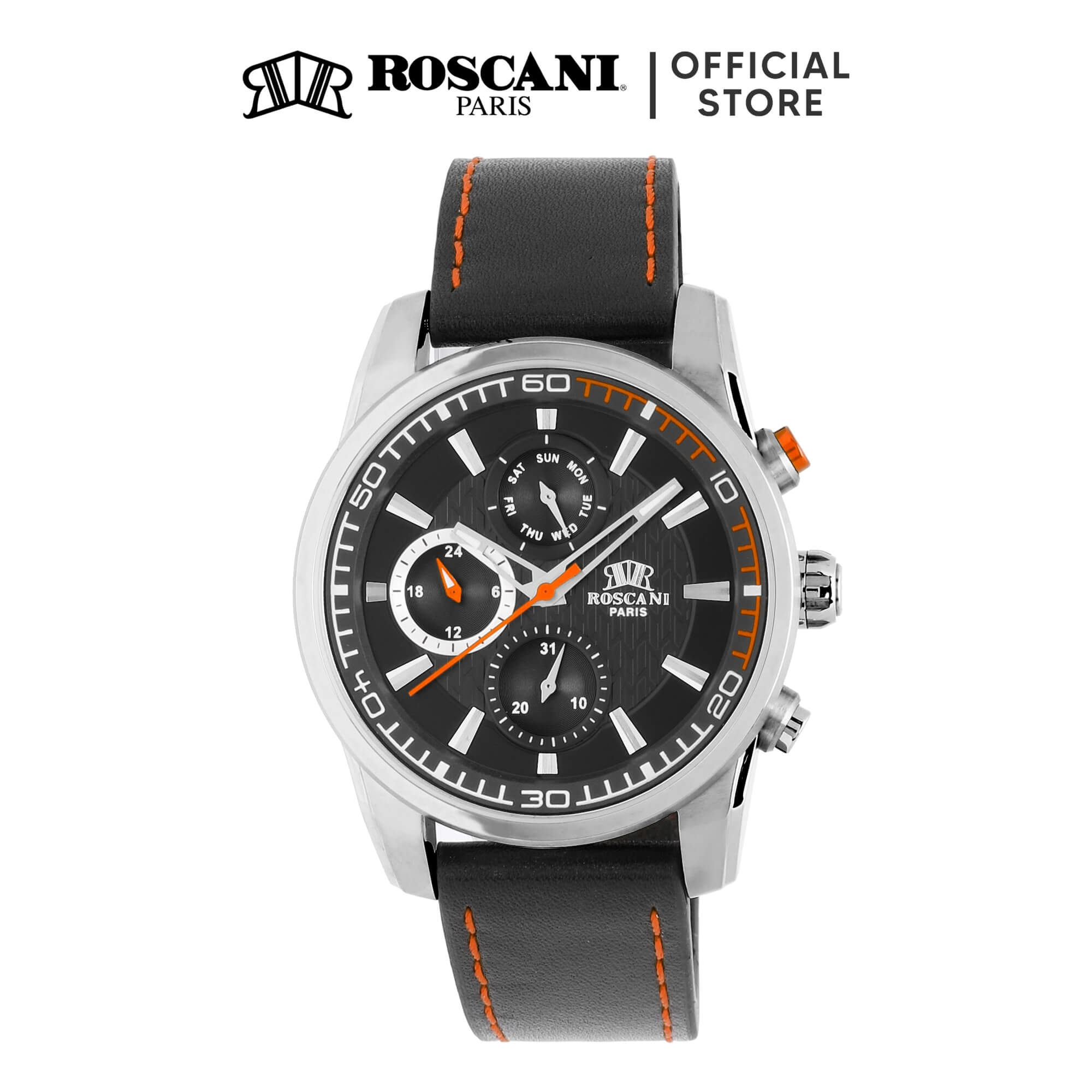 Roscani Casey 992 (Multifunction + WR 5ATM) Leather Men Watch