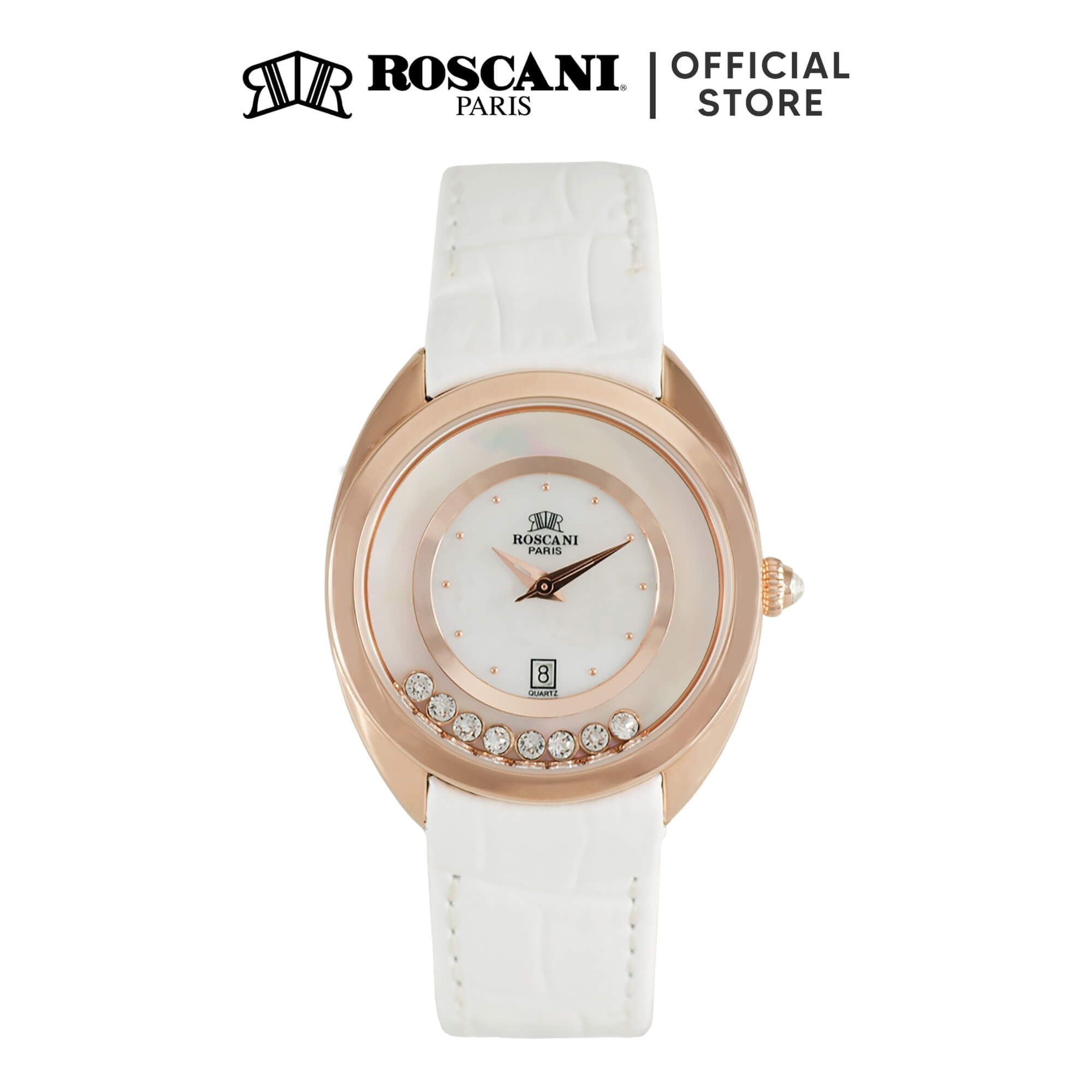 Roscani Jolene B95 (Mother of Pearl Dial + Movable Gemstone) Leather Women Watch